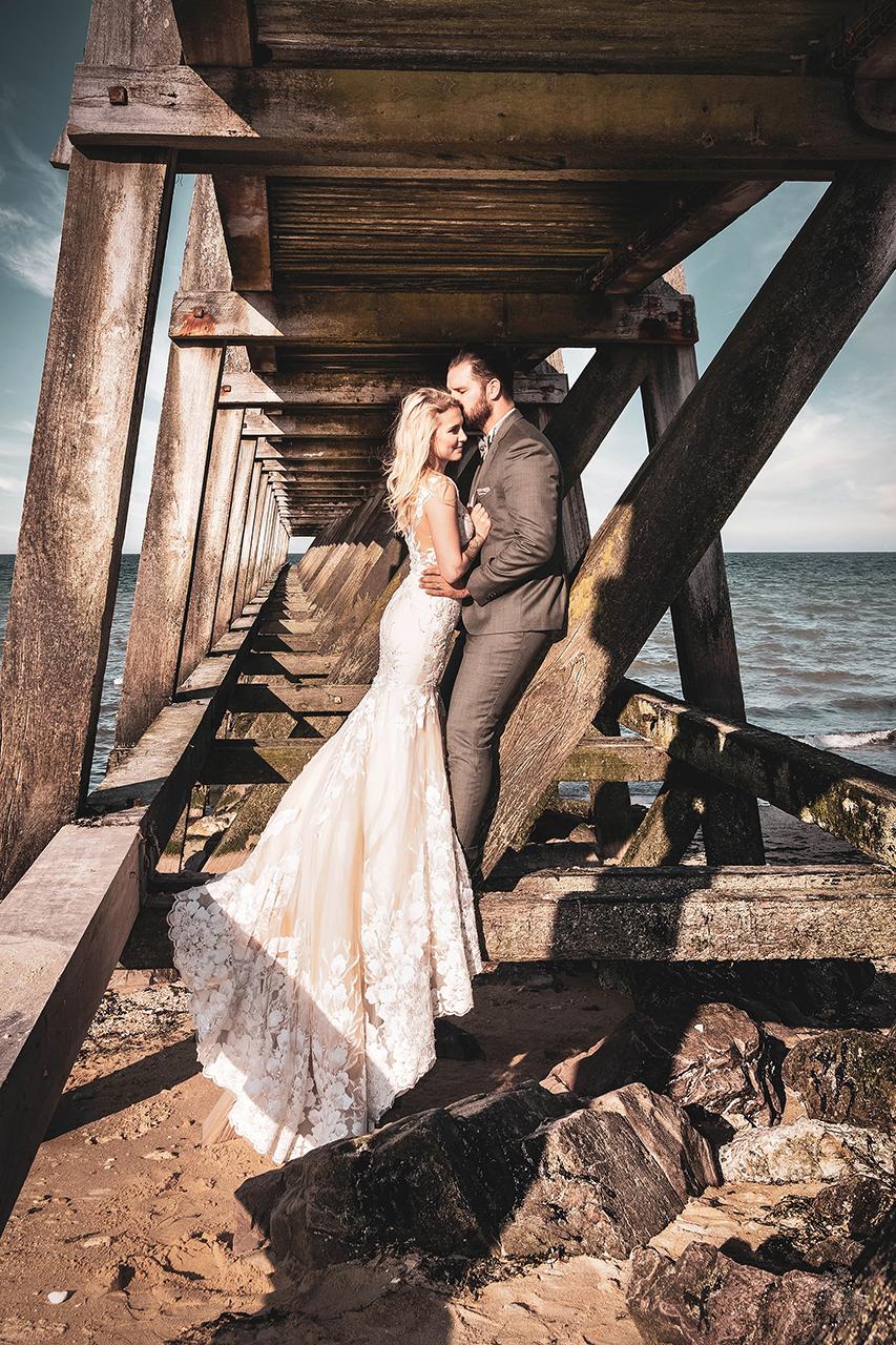 photo de mariage à la plage de Caen
